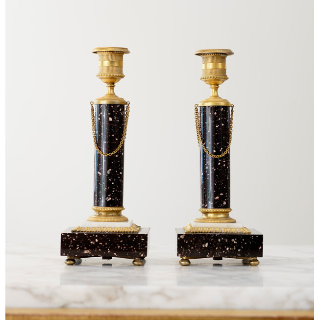 A pair of late Gustavian porphyry candlesticks