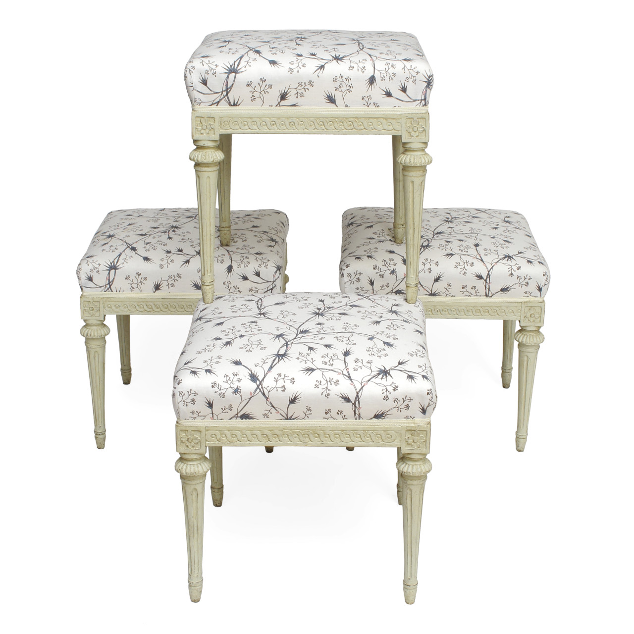 A set of four Gustavian stools