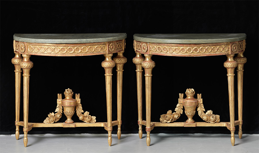 A pair of Gustavian giltwood console tables, Stockholm ca 1780, with grey marble tops,  96x43 cm, H 81 cm