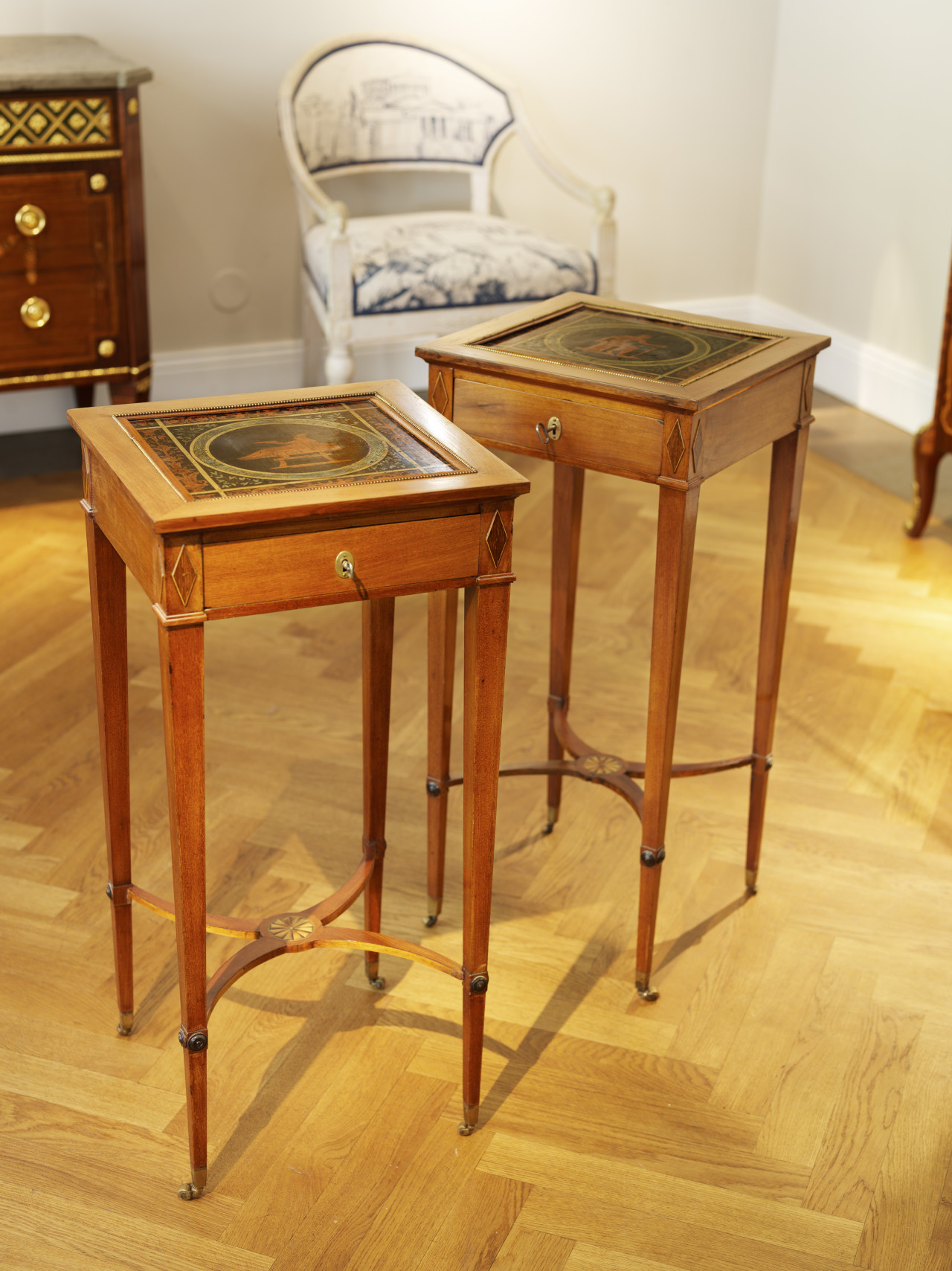 A Very rare Pair of Late Gustavian tables, Stockholm ca 1800, 36x35,5 cm H 77 cm