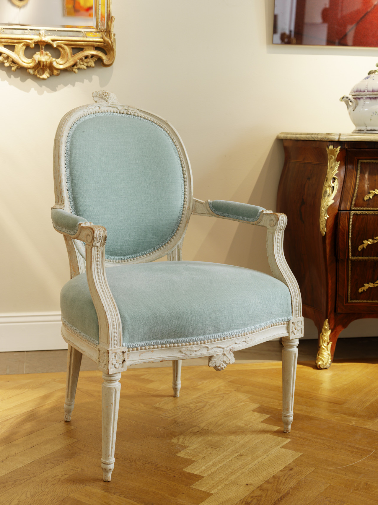 A pair of Gustavian Armchairs, Stockholm ca 1780
