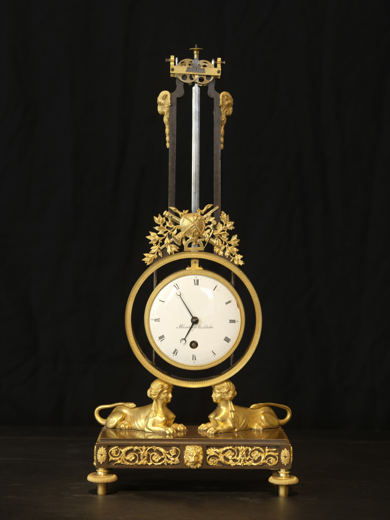 A very rare gilt bronze clock, by Anders Blomberg, Stockholm ca 1810, H 44,5 cm