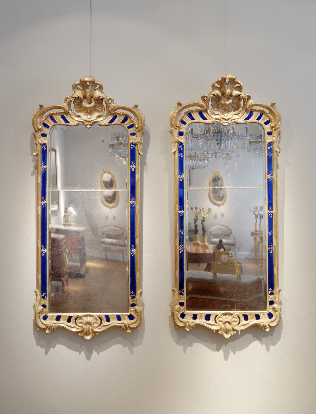 A very important pair of Swedish rococo mirrors by Ehrhart Göbel dated 1760, Stockholm, 155x67 cm